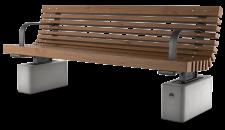 ספסל מרגלית עץ עם מסעדי יד