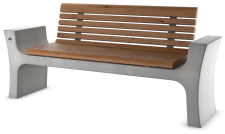 ספסל רומי עץ עם משענת ומסעדי יד