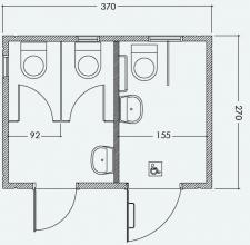 מבנה כנען שירותים כפולים ושירותי נכים