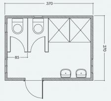 מבנה כנען 2 תאי שירותים ו- 2 מקלחות