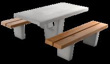 מערכת חורש עם מושבי בטון דמוי עץ